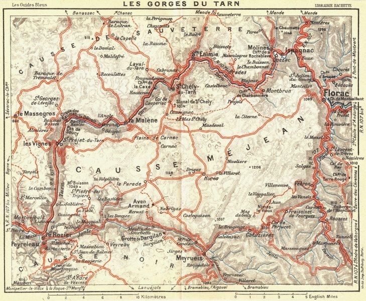 Associate Product FRANCE. Les Gorges Du Tarn 1926 old vintage map plan chart