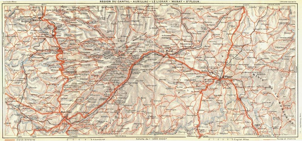 Associate Product AUVERGNE. Cantal-Aurillac-Lelioran-St Flour 1926 old vintage map plan chart