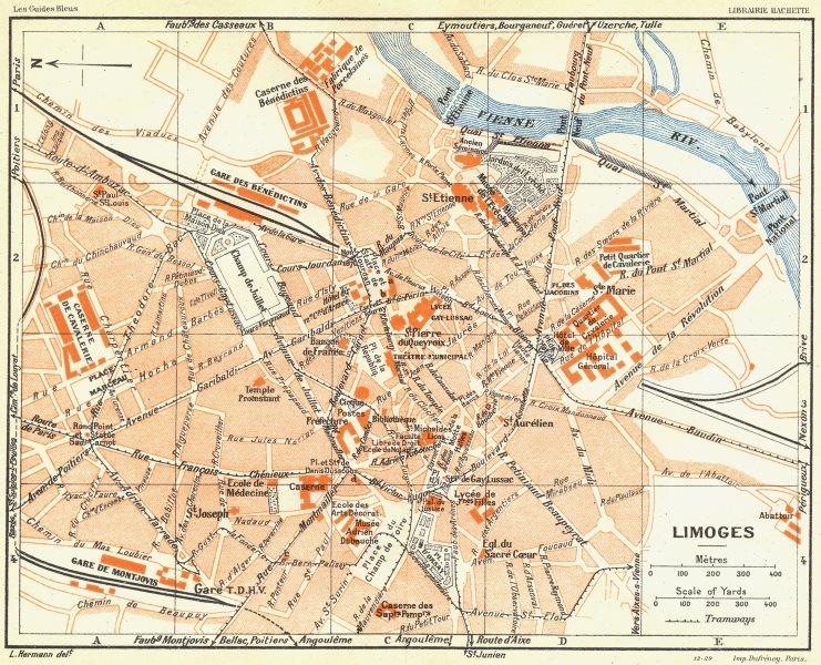 Associate Product FRANCE. Limoges 1926 old vintage map plan chart