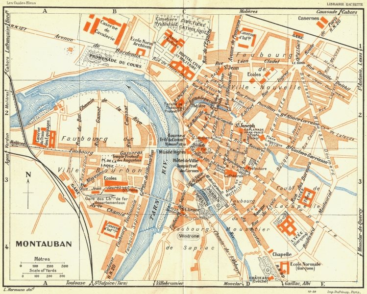 Associate Product FRANCE. Montauban 1926 old vintage map plan chart