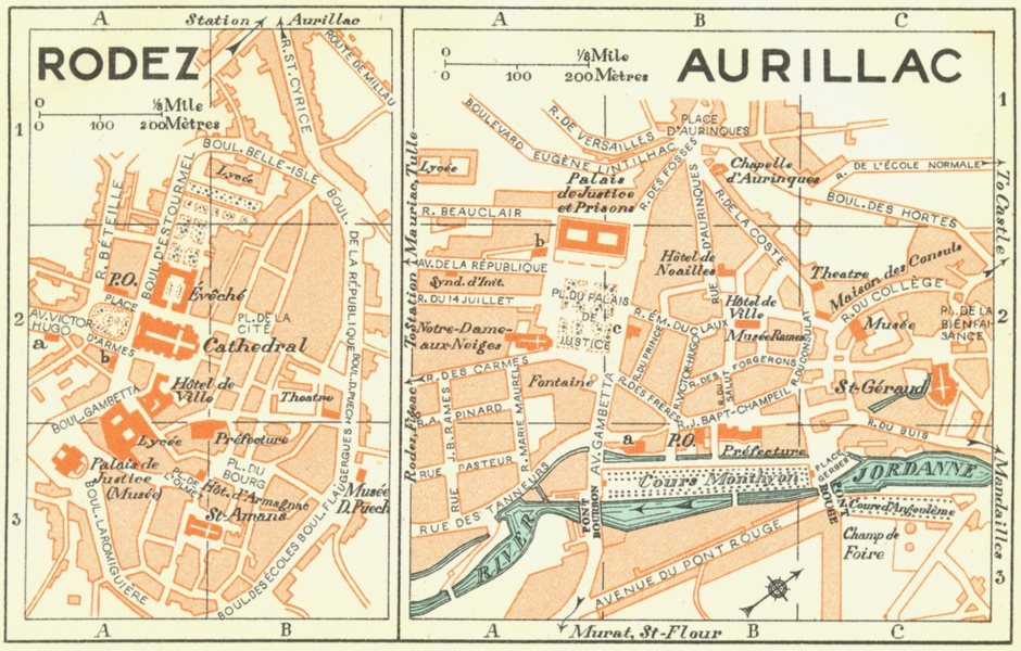 Associate Product FRANCE. Rodez; Aurillac 1926 old vintage map plan chart
