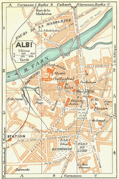 Associate Product FRANCE. Albi 1926 old vintage map plan chart