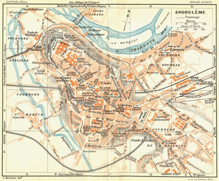 Associate Product FRANCE. Angouleme 1926 old vintage map plan chart