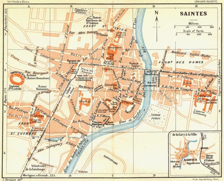 Associate Product FRANCE. Saintes 1926 old vintage map plan chart