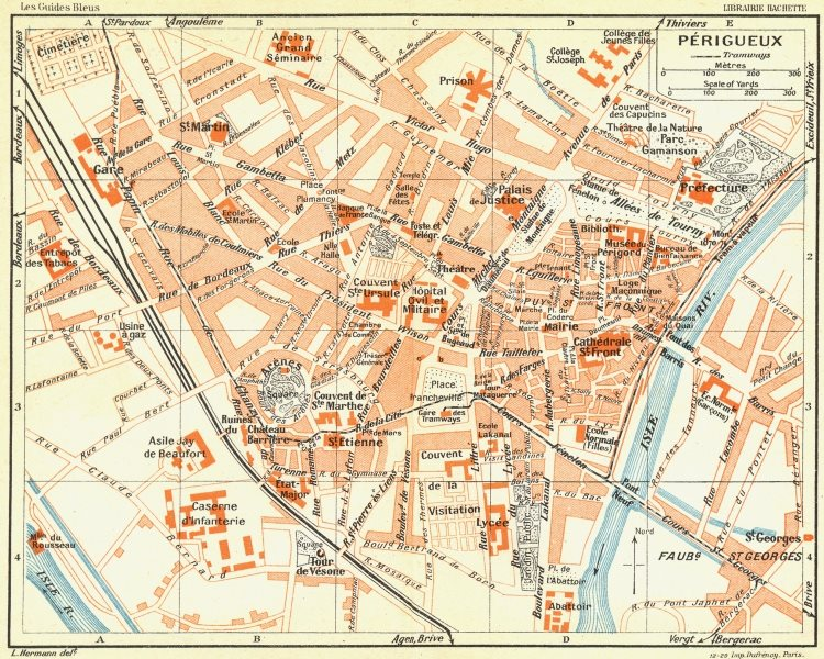 Associate Product FRANCE. Perigueux 1926 old vintage map plan chart
