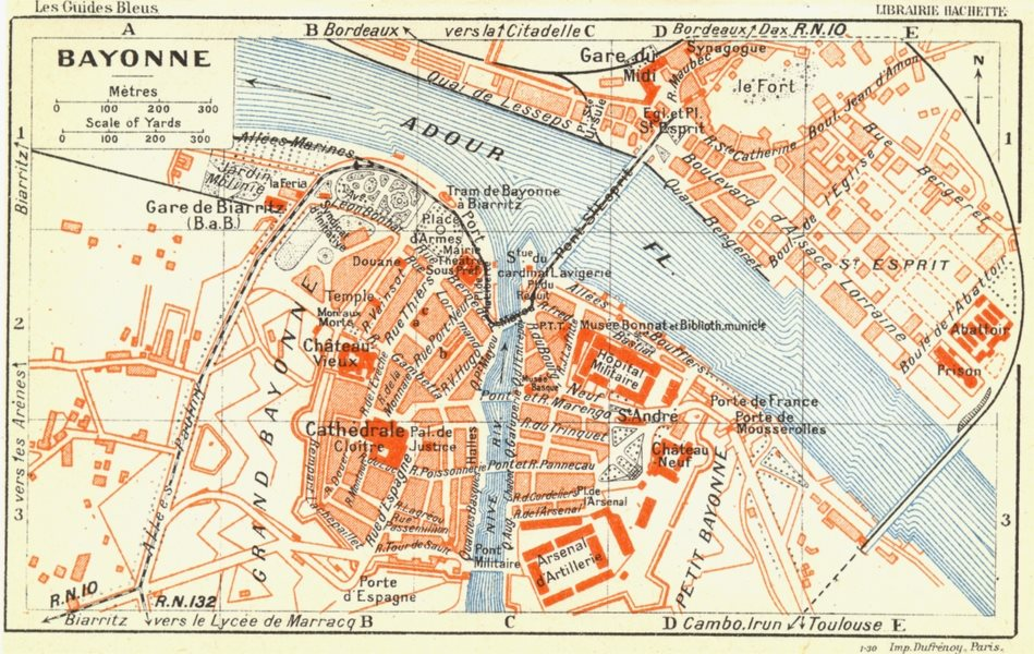 Associate Product FRANCE. Bayonne 1926 old vintage map plan chart