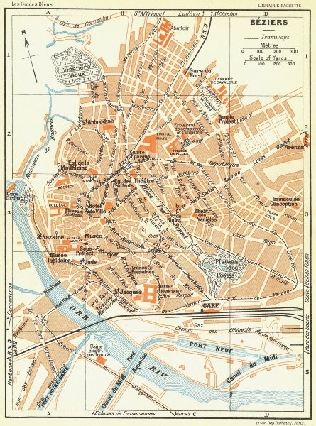 Associate Product FRANCE. Beziers 1926 old vintage map plan chart