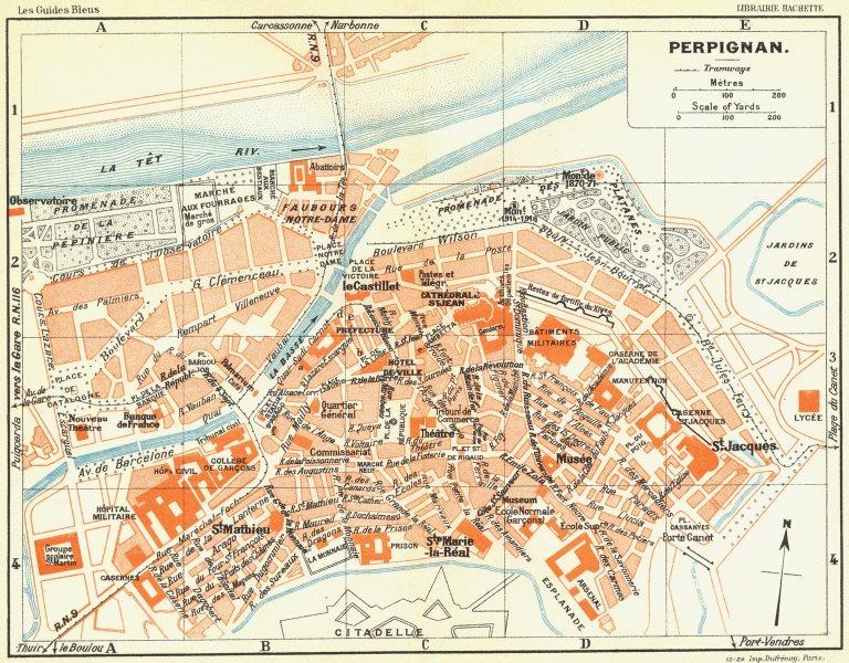 Associate Product FRANCE. Perpignan 1926 old vintage map plan chart