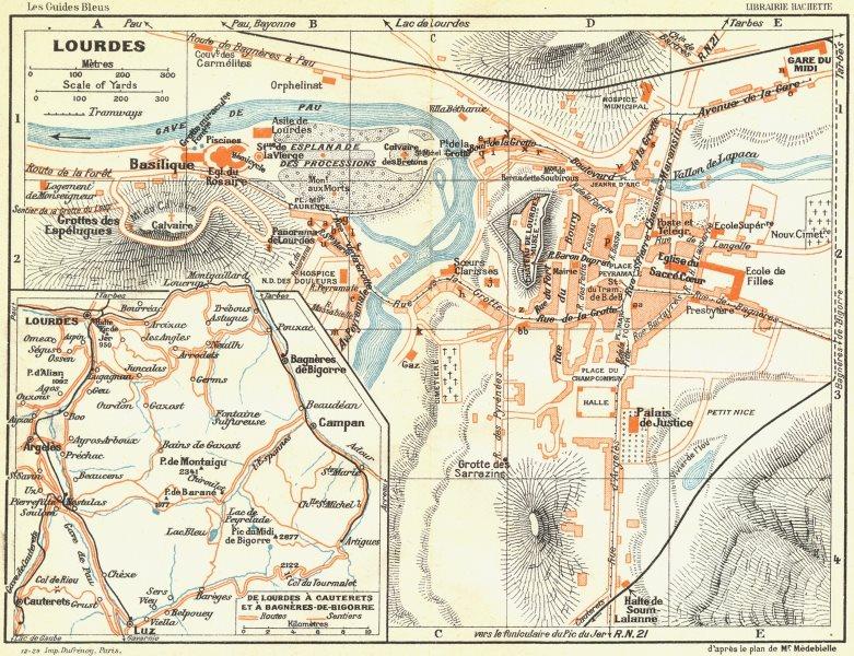 Associate Product FRANCE. Lourdes 1926 old vintage map plan chart