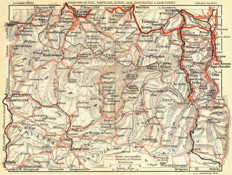 Associate Product PYRENEES. St Jean Pied de Port, Pamplona, Oloron 1926 old vintage map chart