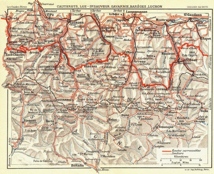 Associate Product HAUTES-PYRENEES. Lourdes Cauterets, Luz, Gavarnie 1926 old vintage map chart