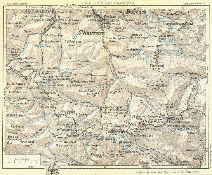 Associate Product HAUTES-PYRENEES. Cauterets et Gavarnie 1926 old vintage map plan chart