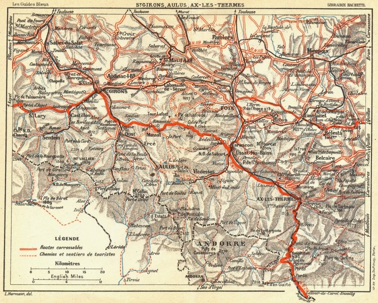 Associate Product ARIEGE. St Girons, Aulus, Ax-les-Thermes 1926 old vintage map plan chart