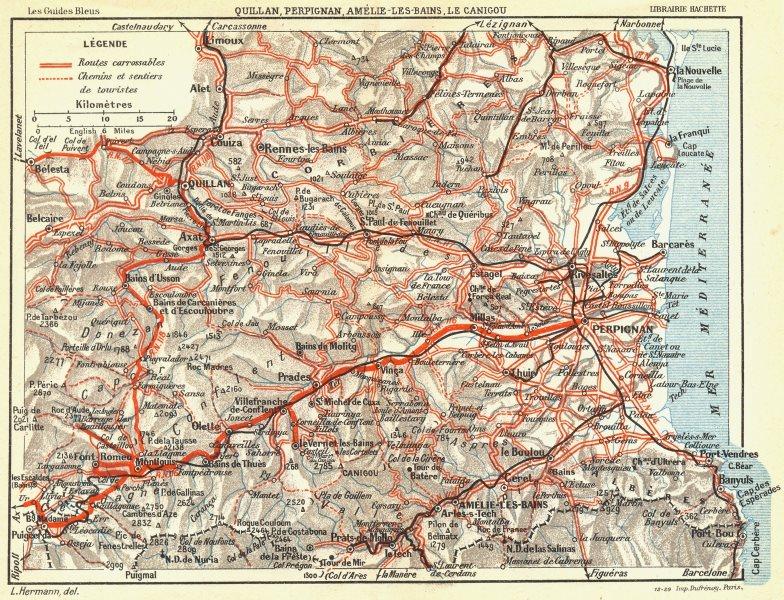 Associate Product PERPIGNAN. Quillan, Amelie-Bains, Le Canigou 1926 old vintage map plan chart