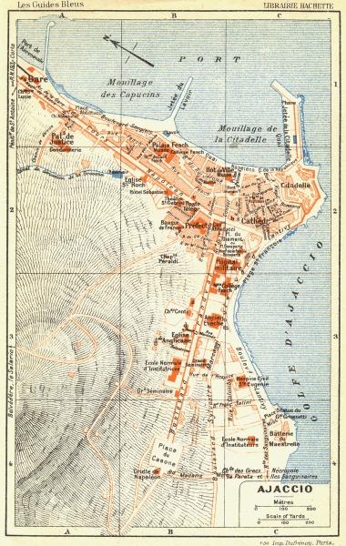 Associate Product CORSE-DU-SUD. Ajaccio Corsica 1926 old vintage map plan chart