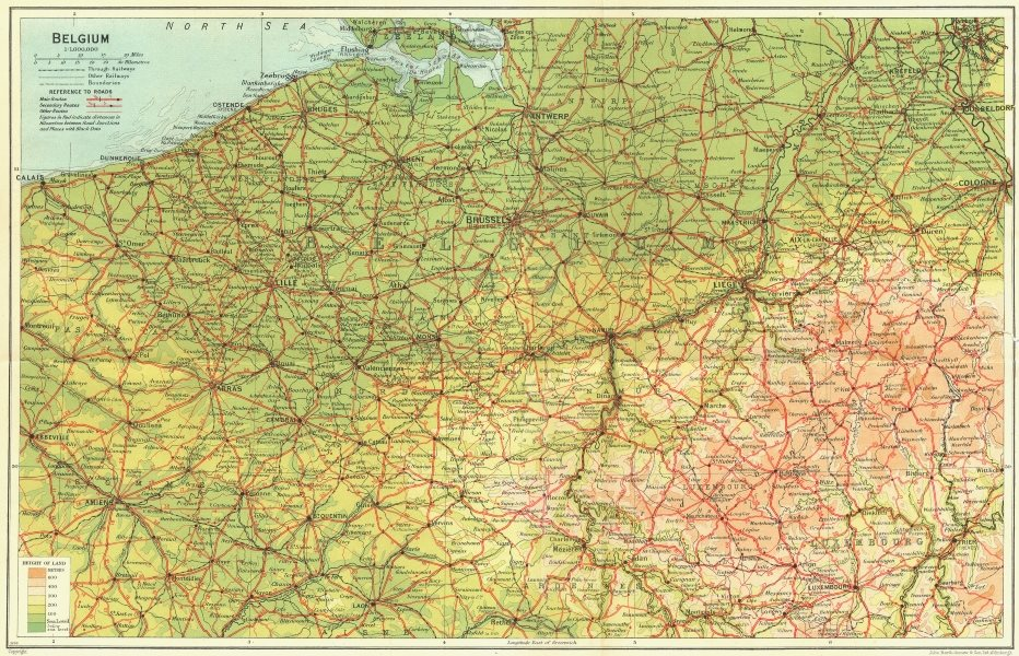 Associate Product BELGIUM. Belgium 1929 old vintage map plan chart
