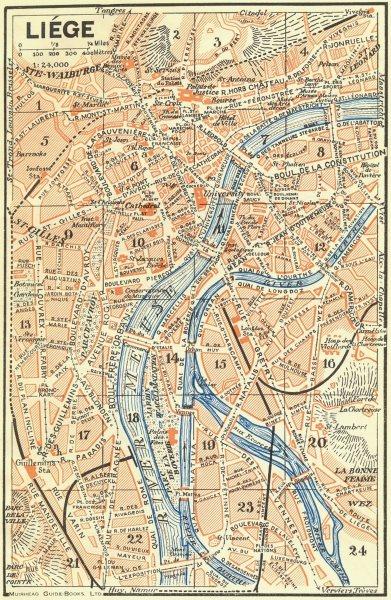 BELGIUM. Liège 1929 old vintage map plan chart