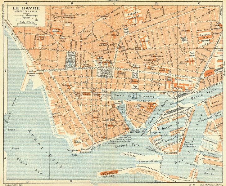 Associate Product NORMANDY. Normandie. Le Havre 1928 old vintage map plan chart