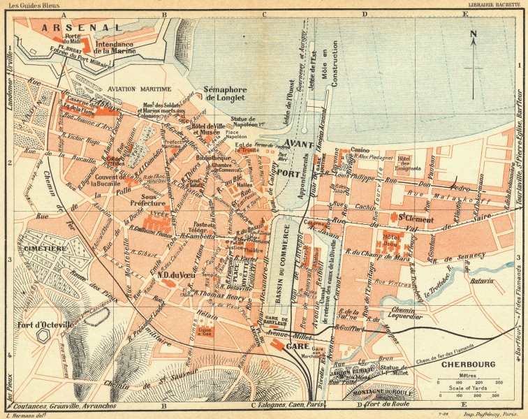 Associate Product NORMANDY. Normandie. Cherbourg 1928 old vintage map plan chart