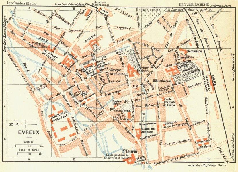 Associate Product NORMANDY. Normandie. Evreux 1928 old vintage map plan chart