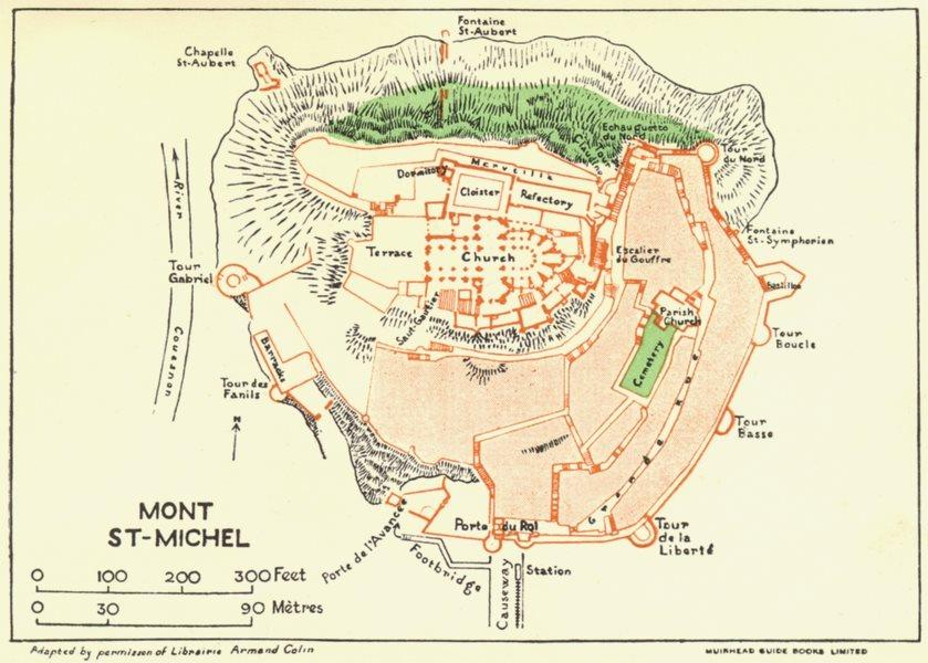 Associate Product NORMANDY. Normandie. Mont St Michel 1928 old vintage map plan chart