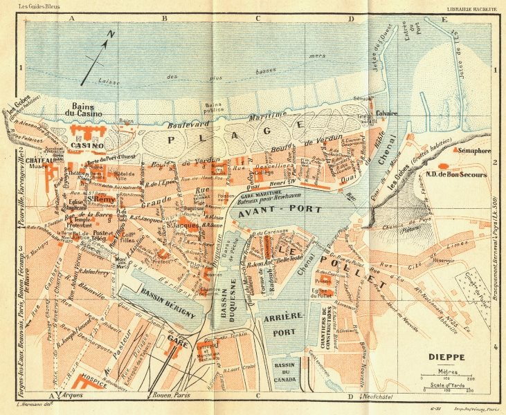 Associate Product FRANCE. Dieppe 1932 old vintage map plan chart