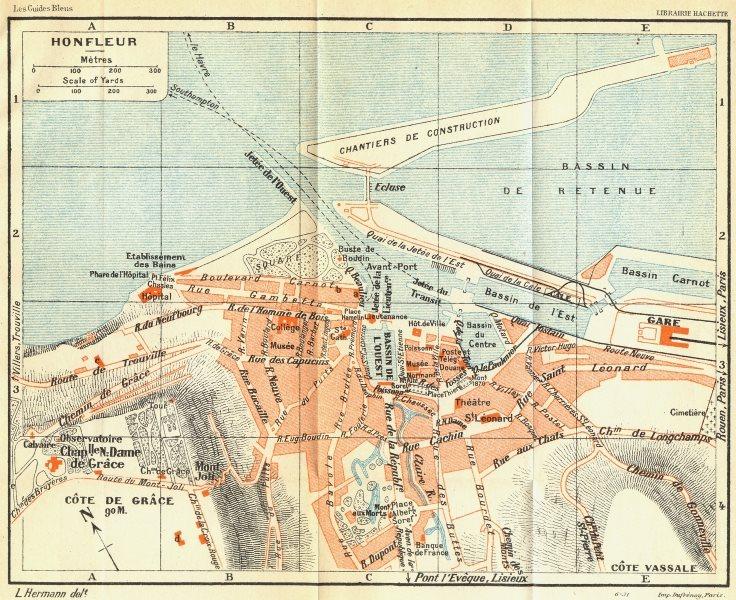 France Honfleur 1932 Old Vintage Map Plan Chart Ebay