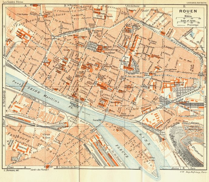Associate Product FRANCE. Rouen 1932 old vintage map plan chart