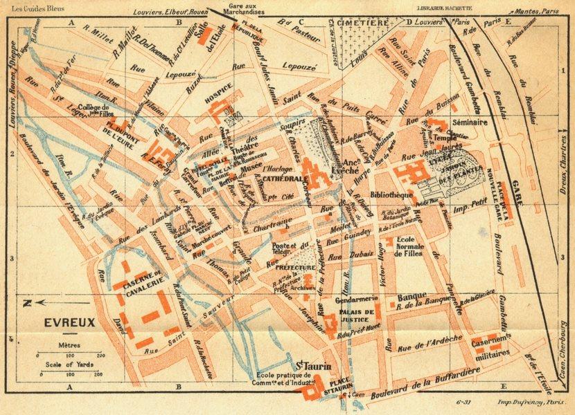 Associate Product FRANCE. Evreux 1932 old vintage map plan chart