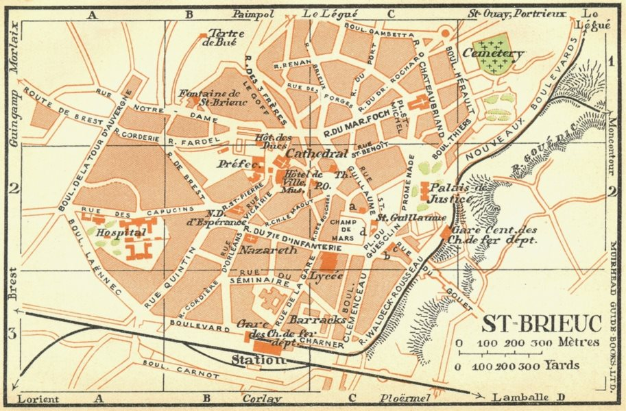 Associate Product BRITTANY. St Brieuc 1932 old vintage map plan chart