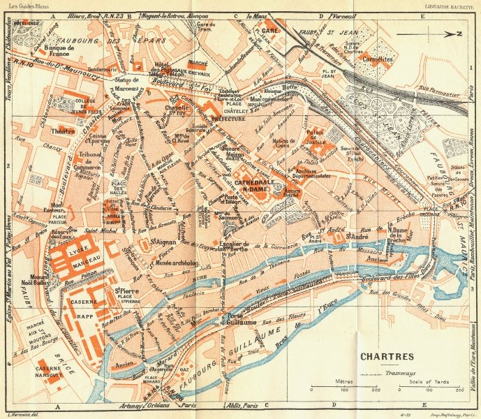 FRANCE. Chartres 1932 old vintage map plan