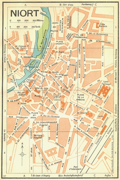 Associate Product FRANCE. Niort 1932 old vintage map plan chart