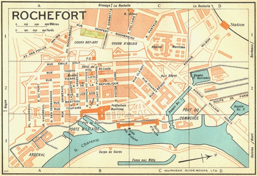 Associate Product FRANCE. Rochefort 1932 old vintage map plan chart