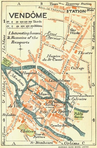 Associate Product FRANCE. Vendome 1932 old vintage map plan chart