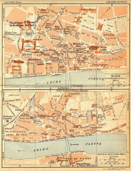 Associate Product FRANCE. Blois Centre de Ville; -plan d'Ensemble 1932 old vintage map chart
