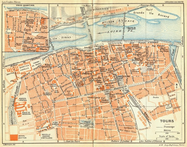 Associate Product FRANCE. Tours 1932 old vintage map plan chart