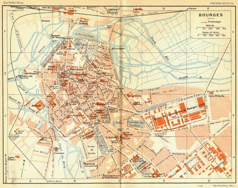 Associate Product FRANCE. Bourges 1932 old vintage map plan chart