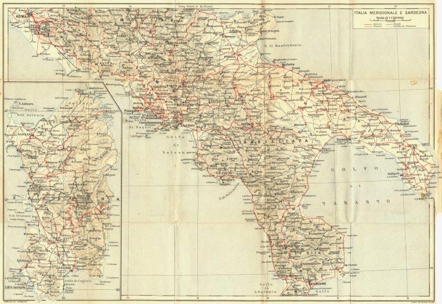 ITALY. Italia Meridionale E Sardegna Sardinia 1925 old vintage map plan chart
