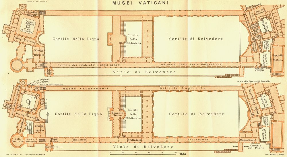 Associate Product ROME. Musei Vaticani 1925 old vintage map plan chart
