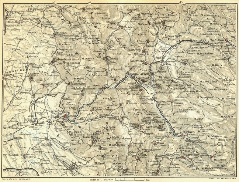 Associate Product ITALY. Environs of Tivoli 1925 old vintage map plan chart