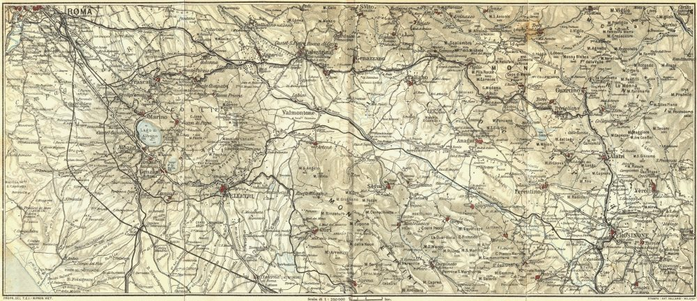 Associate Product ROME. Southern Latium 1925 old vintage map plan chart