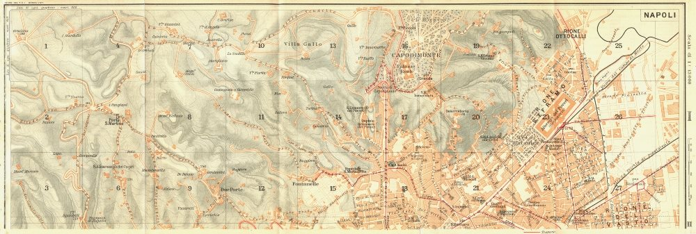 Associate Product ITALY. Napoli section I of III 1925 old vintage map plan chart