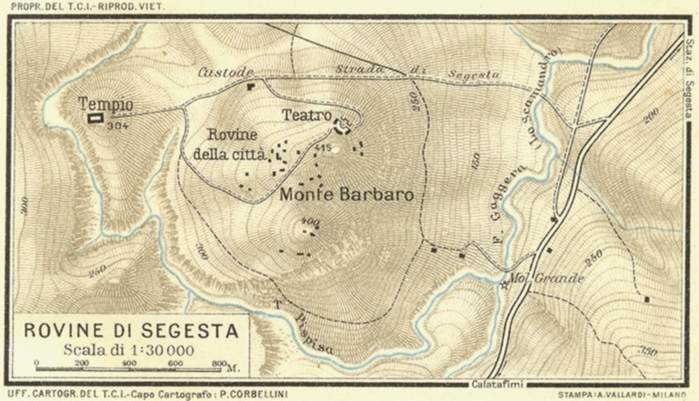 Associate Product ITALY. Rovine Di Segesta 1925 old vintage map plan chart