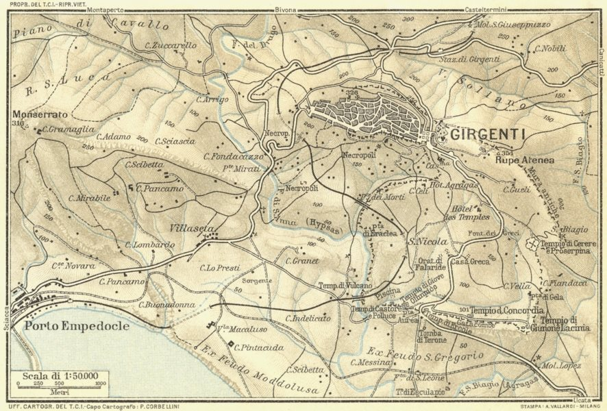 ITALY. Environs of Girgenti 1925 old vintage map plan chart