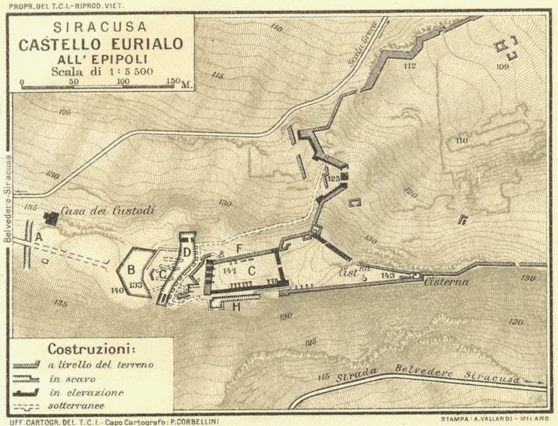 Associate Product ITALY. Siracusa Castello Eurialo All Epipoli 1925 old vintage map plan chart