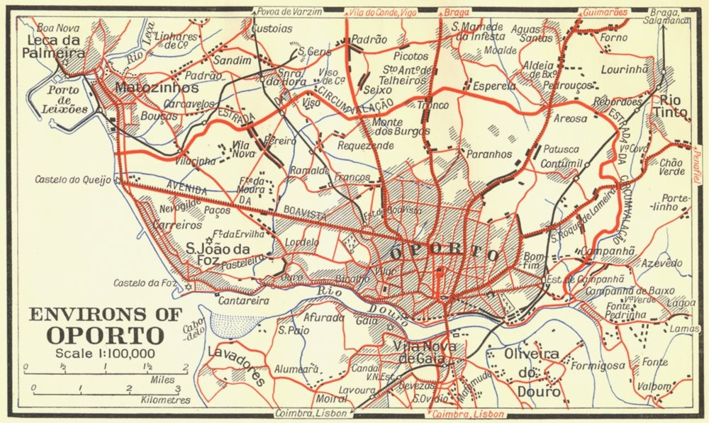 Associate Product PORTUGAL. Environs of Oporto 1929 old vintage map plan chart