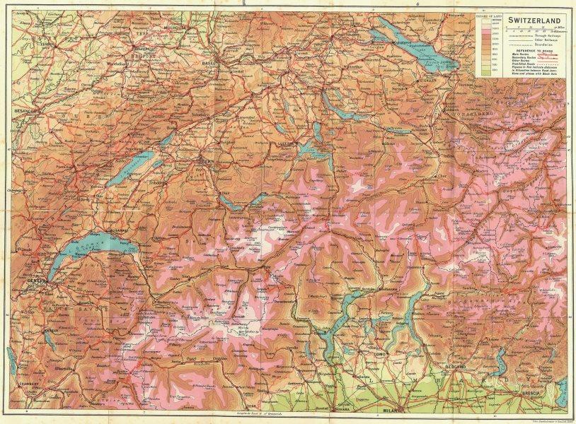Associate Product SWITZERLAND. Switzerland 1923 old vintage map plan chart