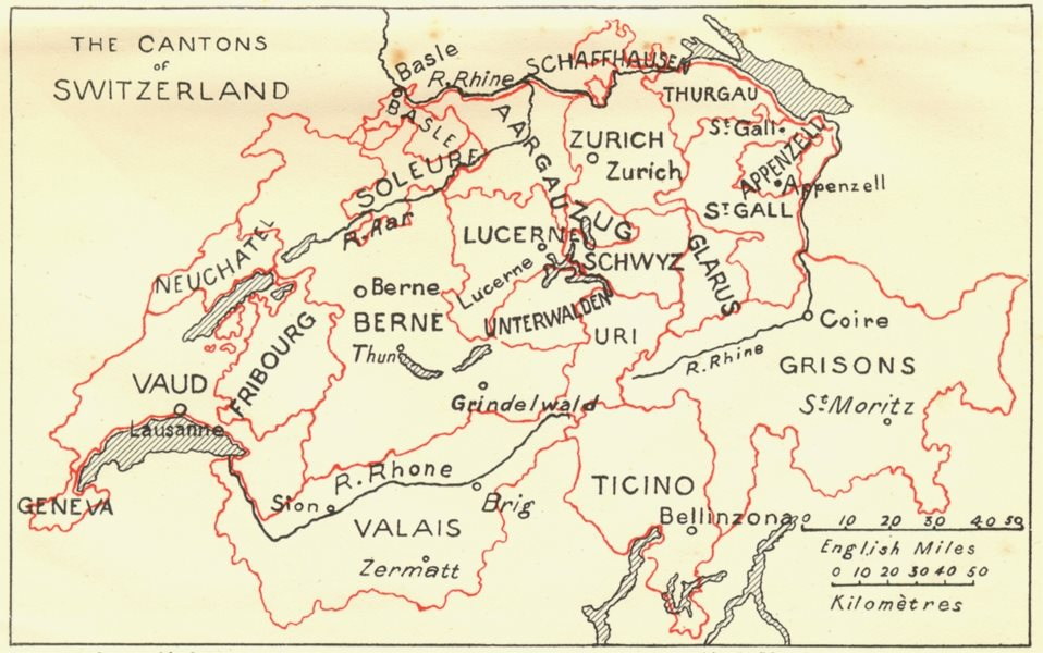Associate Product SWITZERLAND. Cantons of 1923 old vintage map plan chart