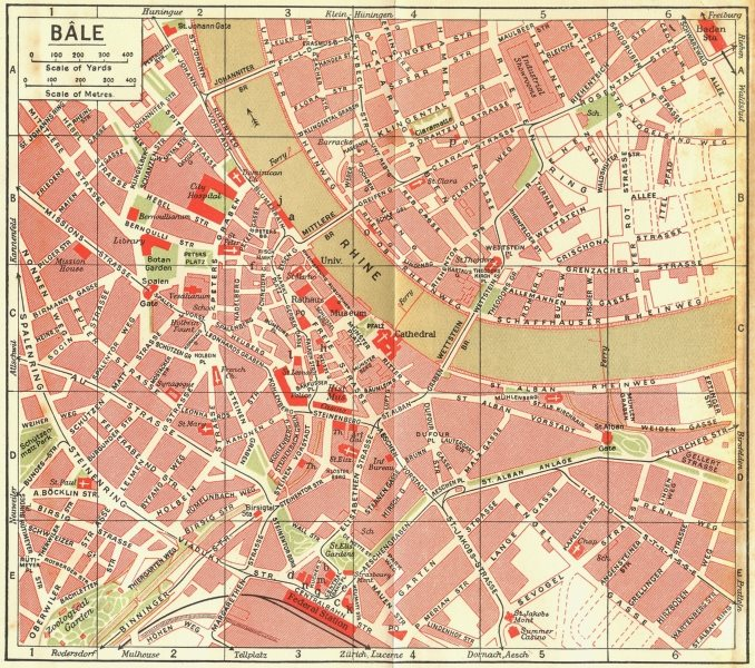 Associate Product SWITZERLAND. Bale 1923 old vintage map plan chart