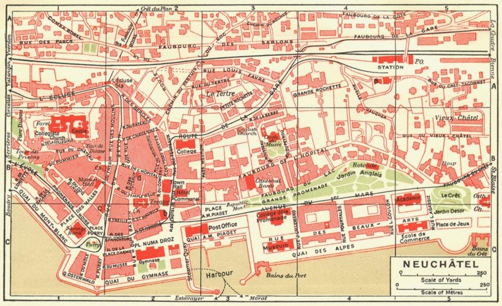Associate Product SWITZERLAND. Neuchatel 1923 old vintage map plan chart